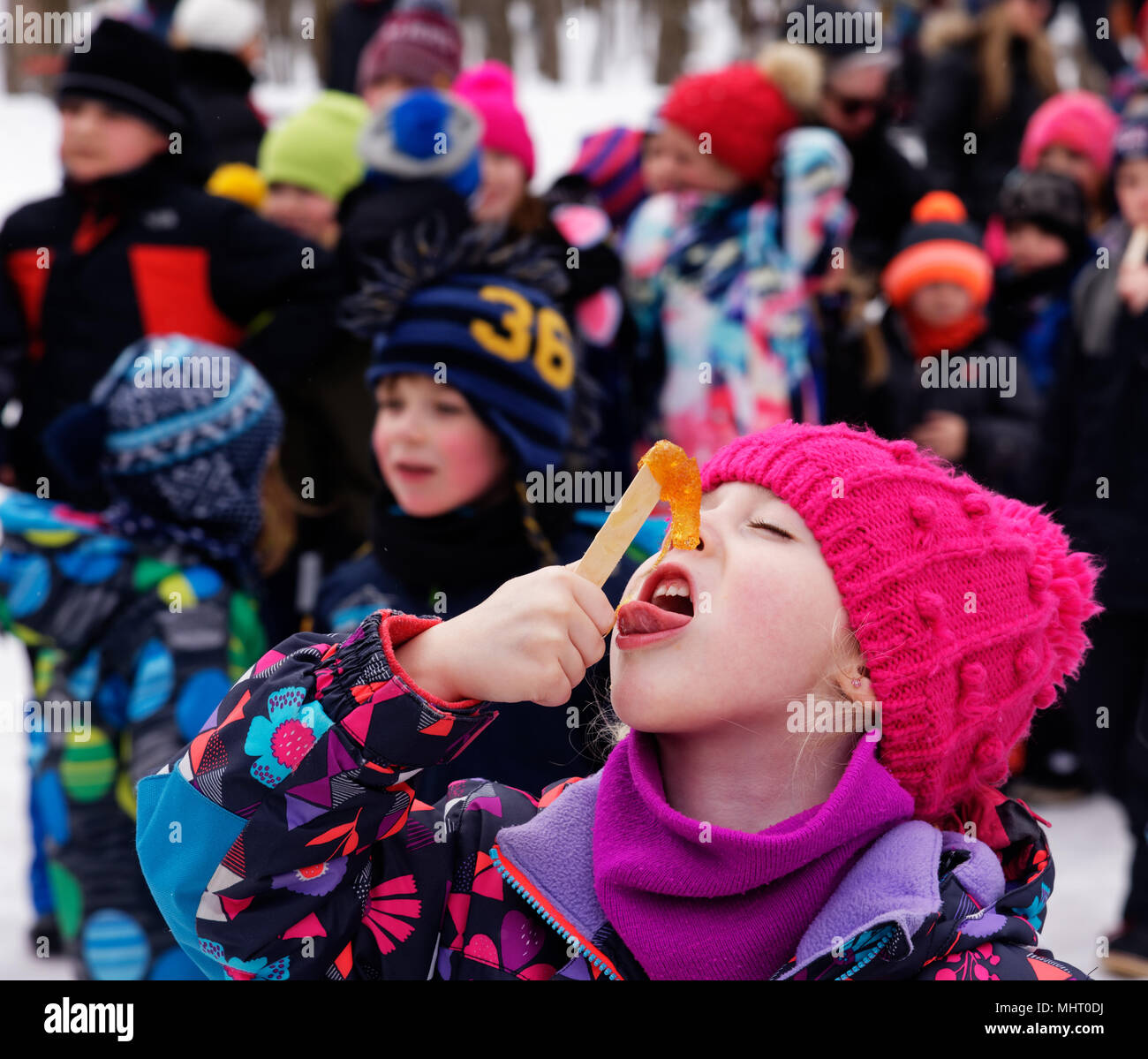 a-young-girl-5-yr-old-eyes-closed-in-blissful-expectation-eating-maple-syrup-taffy-on-a-stick-in-quebec-canada-MHT0DJ.jpg