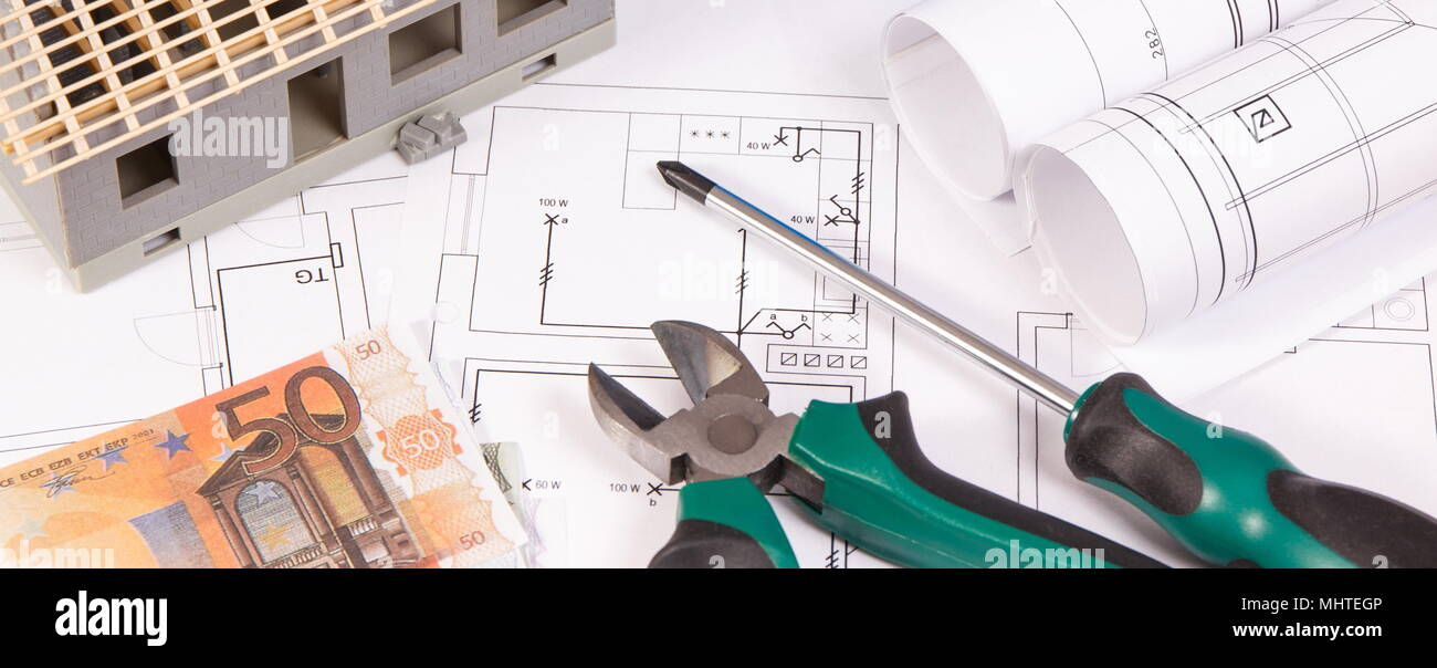 Electrical drawings or diagrams work tools for engineer jobs house electrical drawings or diagrams work tools for engineer jobs house under construction and currencies euro building home cost concept ccuart Image collections