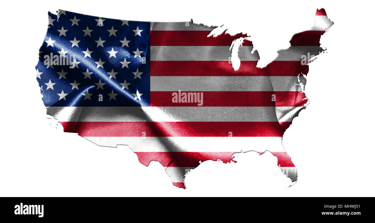United States Of America Map With American Flag Isolated On White