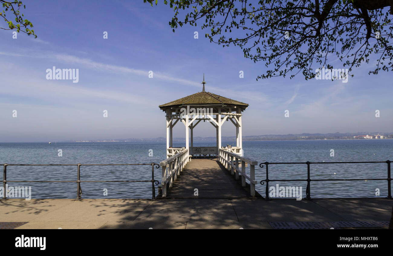 Romantic gazebo by lake ConstanceStock Photo