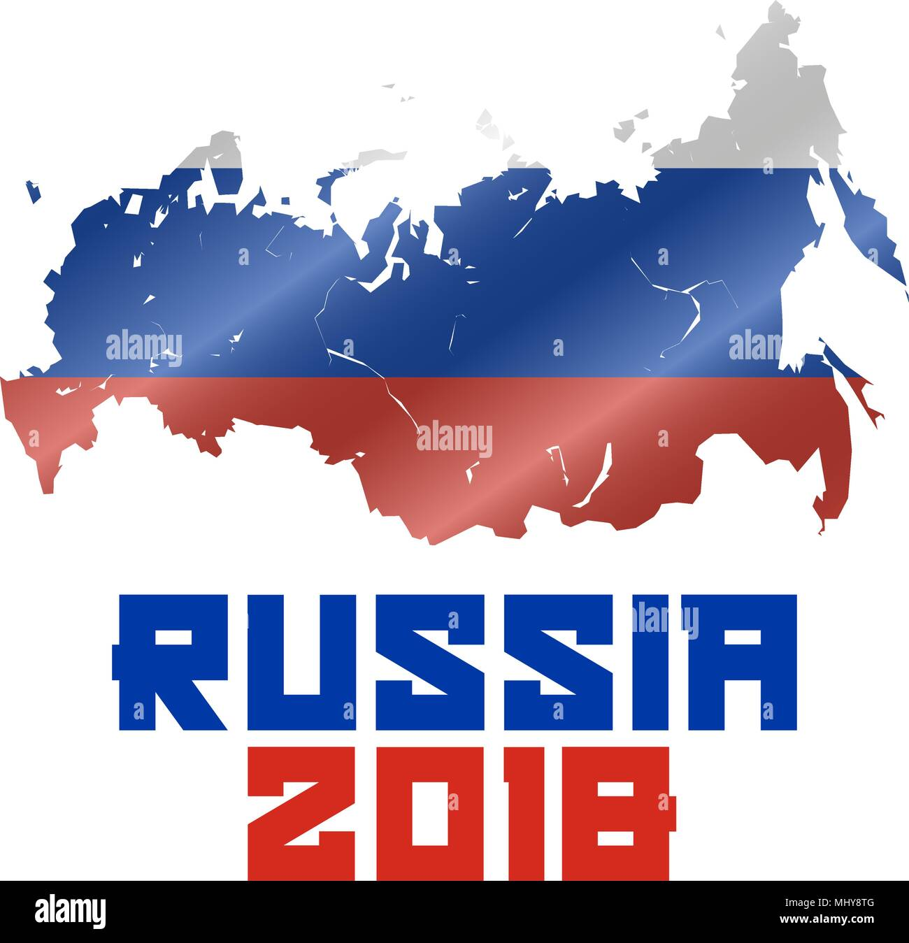 Russia 2018 Russian Map And Waved Flag Soccer World Cup 2018