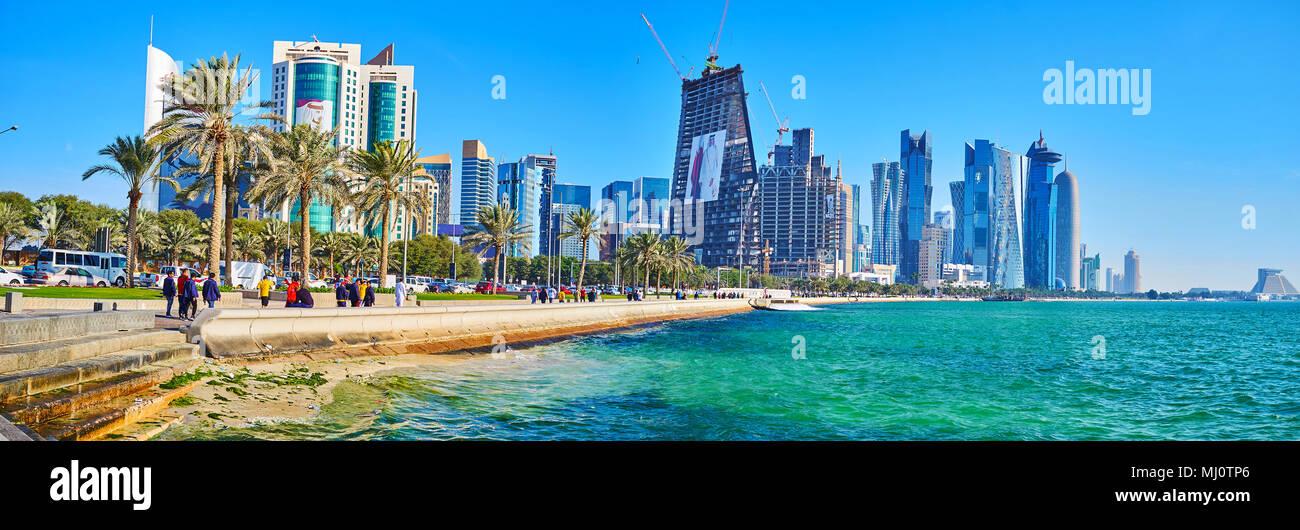 Doha Qatar February 13 2018 The City Skyline With Al Dafna