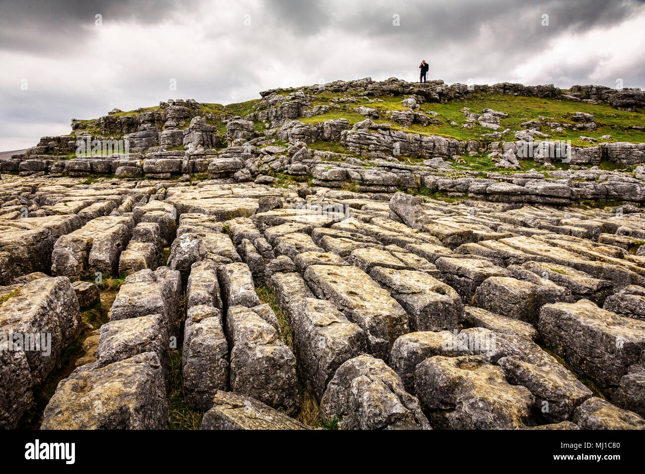 Limestone karst pavement at Malham Cove, Yorkshire Dales, England.Stock Photo