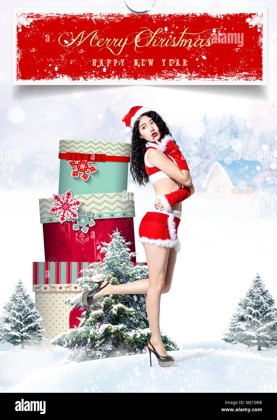 young women and christmas gifts