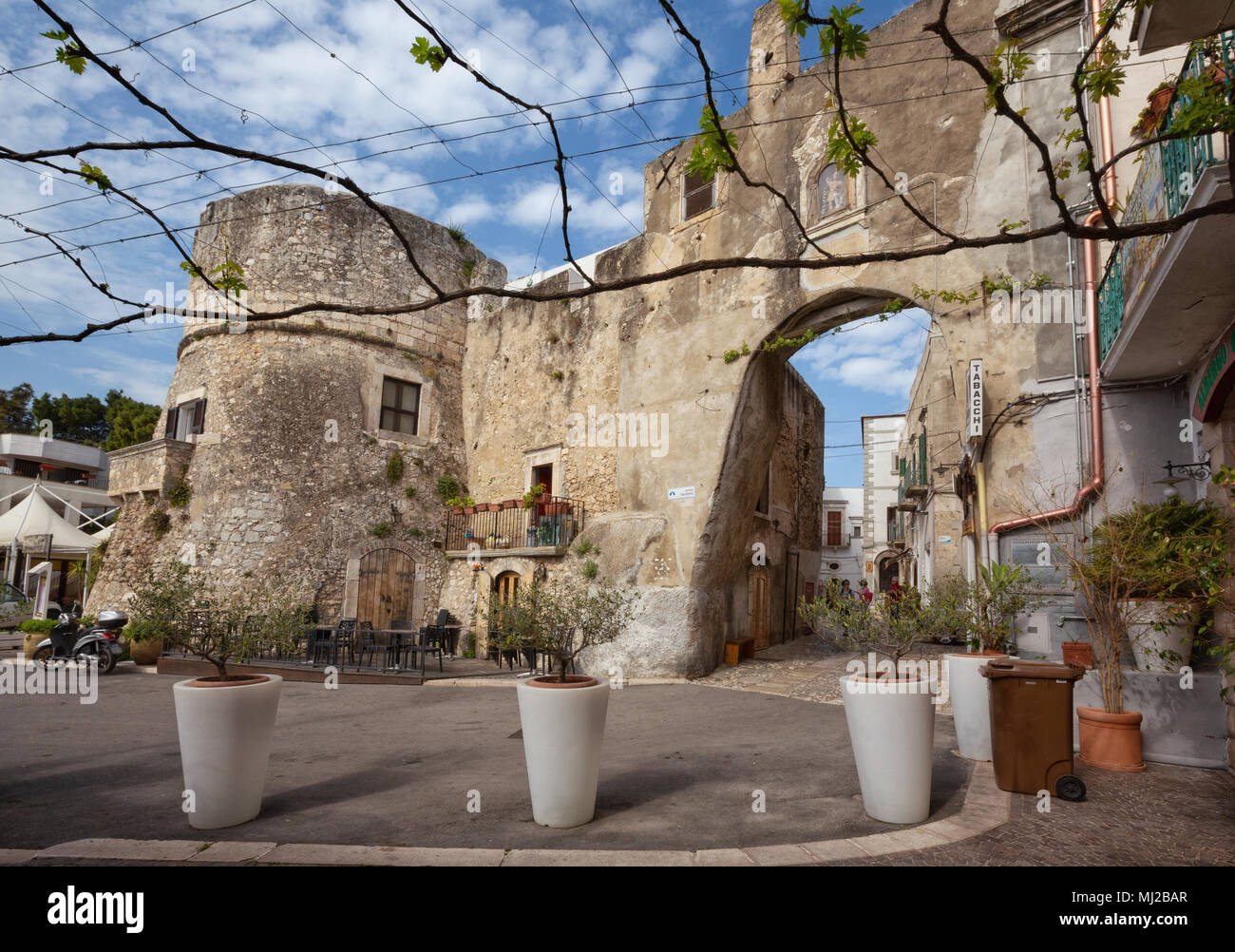 PESCHICI, ITALY - APRIL 29, 2018 - Peschici is a little picturesque village in Puglia, south Italy. Its territory belongs to the Gargano National Park - Stock Image