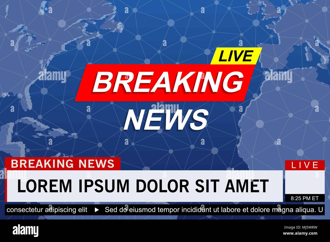 Breaking News Live Template On World Map Background Vector Illustration