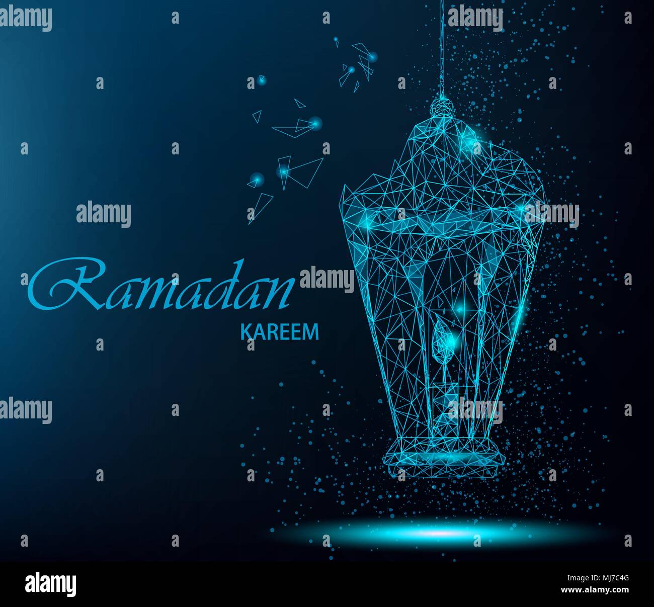 Ramadan kareem beautiful greeting card with traditional arabic ramadan kareem beautiful greeting card with traditional arabic lantern polygonal art on blue background greeting card or invitation usable for eid m4hsunfo