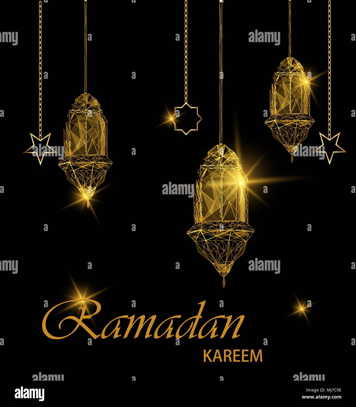 Ramadan kareem bright greeting card traditional golden arabic ramadan kareem bright greeting card traditional golden arabic lanterns polygonal art on blue background usable for eid mubarak stock vector illust m4hsunfo