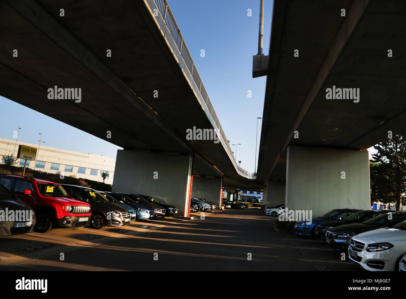 Hertz Car Rental under Flyover at Athens Airport Greece - Stock Image