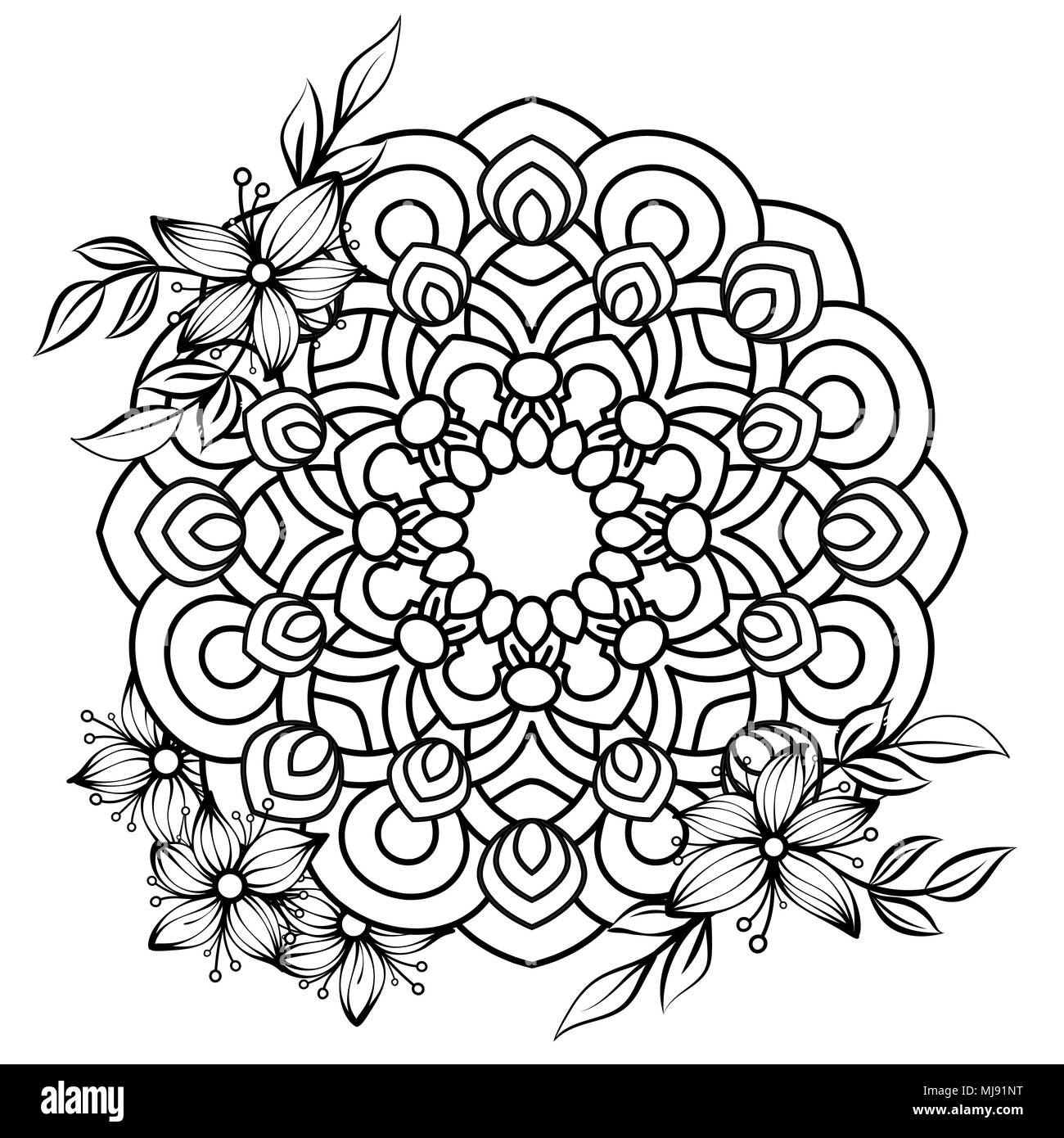 Floral Mandala Pattern In Black And White Adult Coloring Book Page With Flowers Mandalas Oriental Vintage Decorative Elements