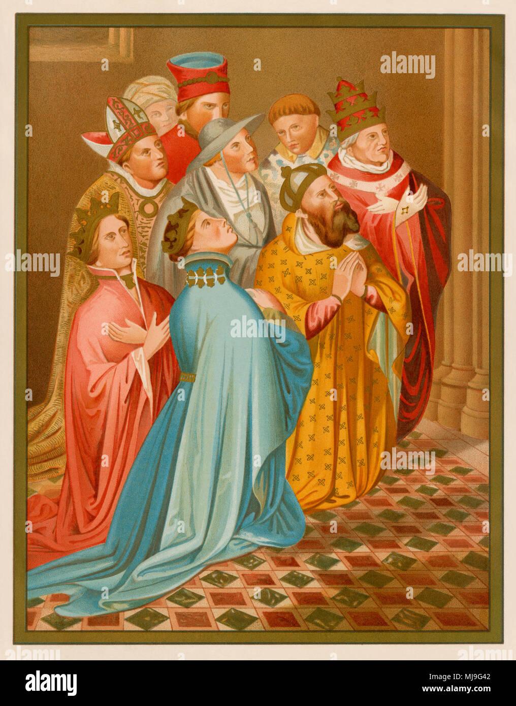 Ferdinand I of Aragon with queen Eleanor of Alburquerque, Emperor Sigismund, and Pope Martin V. Lithograph from Carderera's 'Iconografia Espanola' - Stock Image