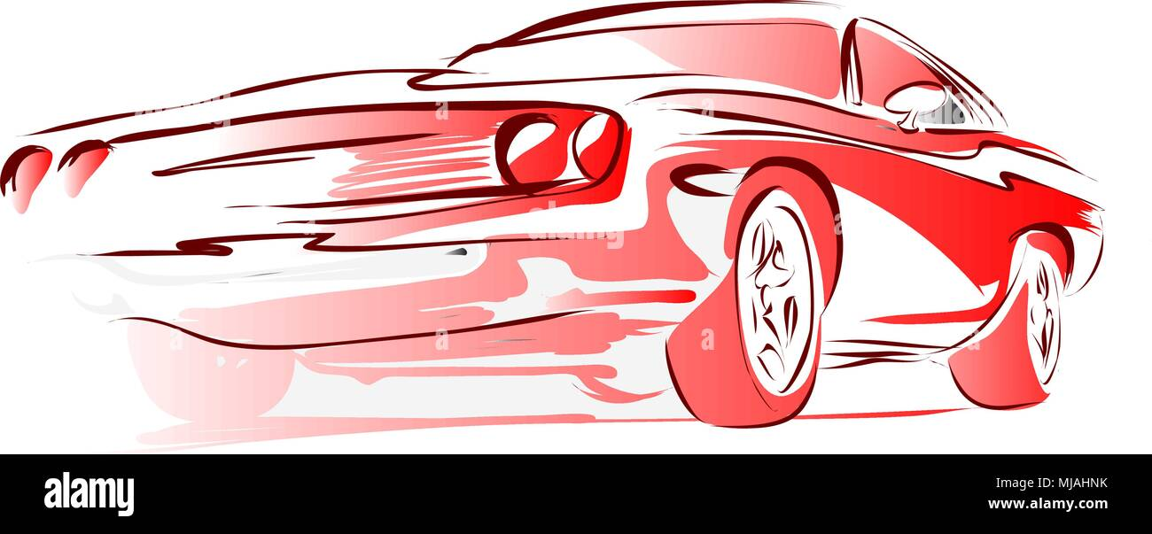 Old Muscle Car Vector Outline Colored Sketch Hand Drawn
