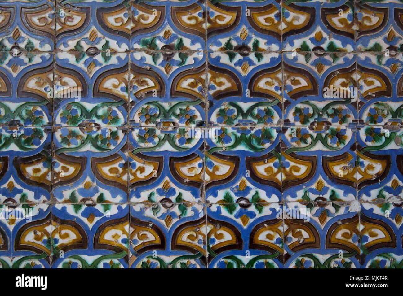 europe spain andalusia seville real alcazar antique tiles