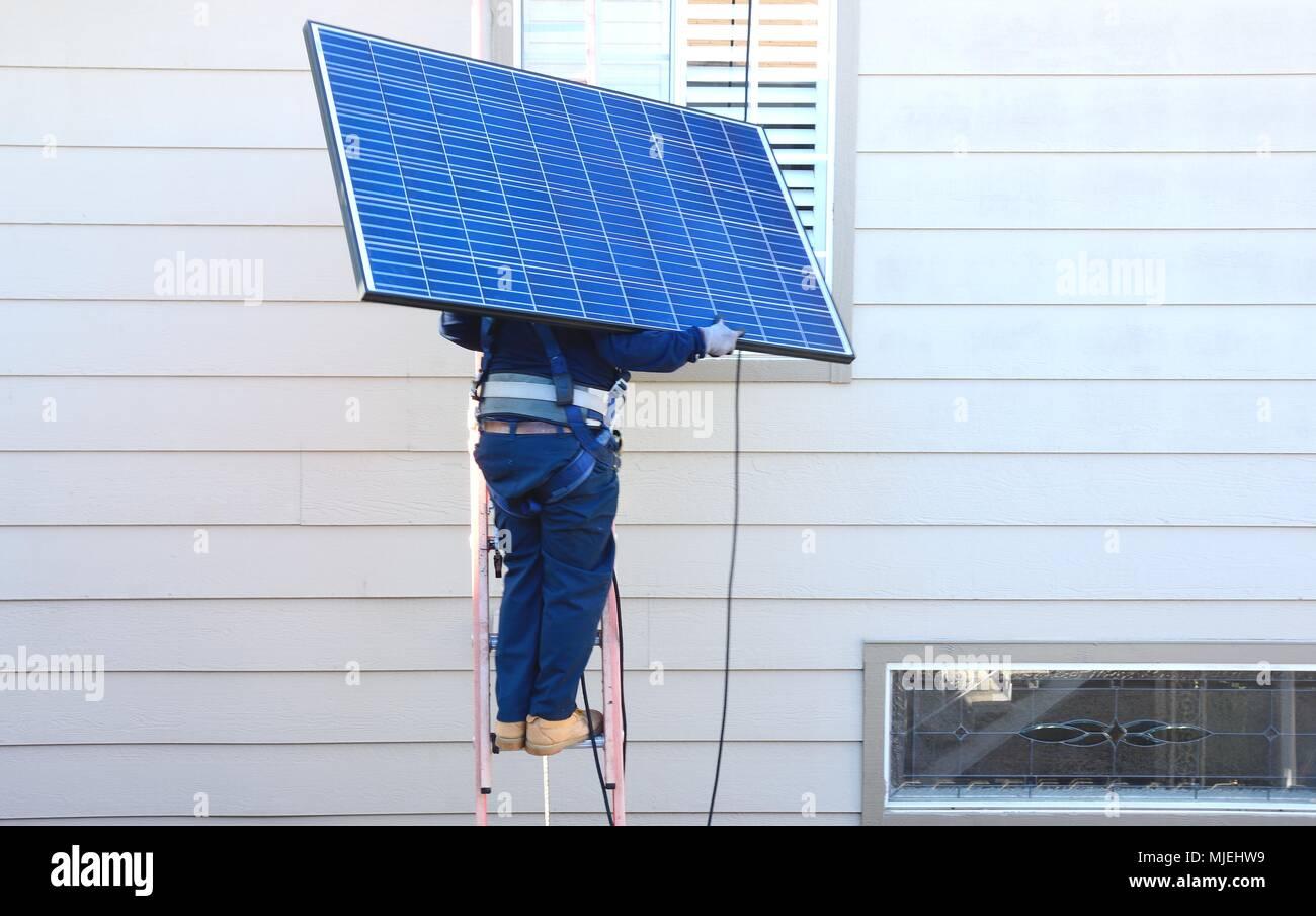 Solar Panel Install Stock Photo 183488853 Alamy Wiring