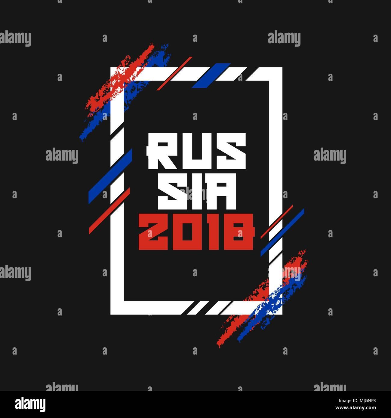 russia 2018 modern art vector frame template for poster banner or