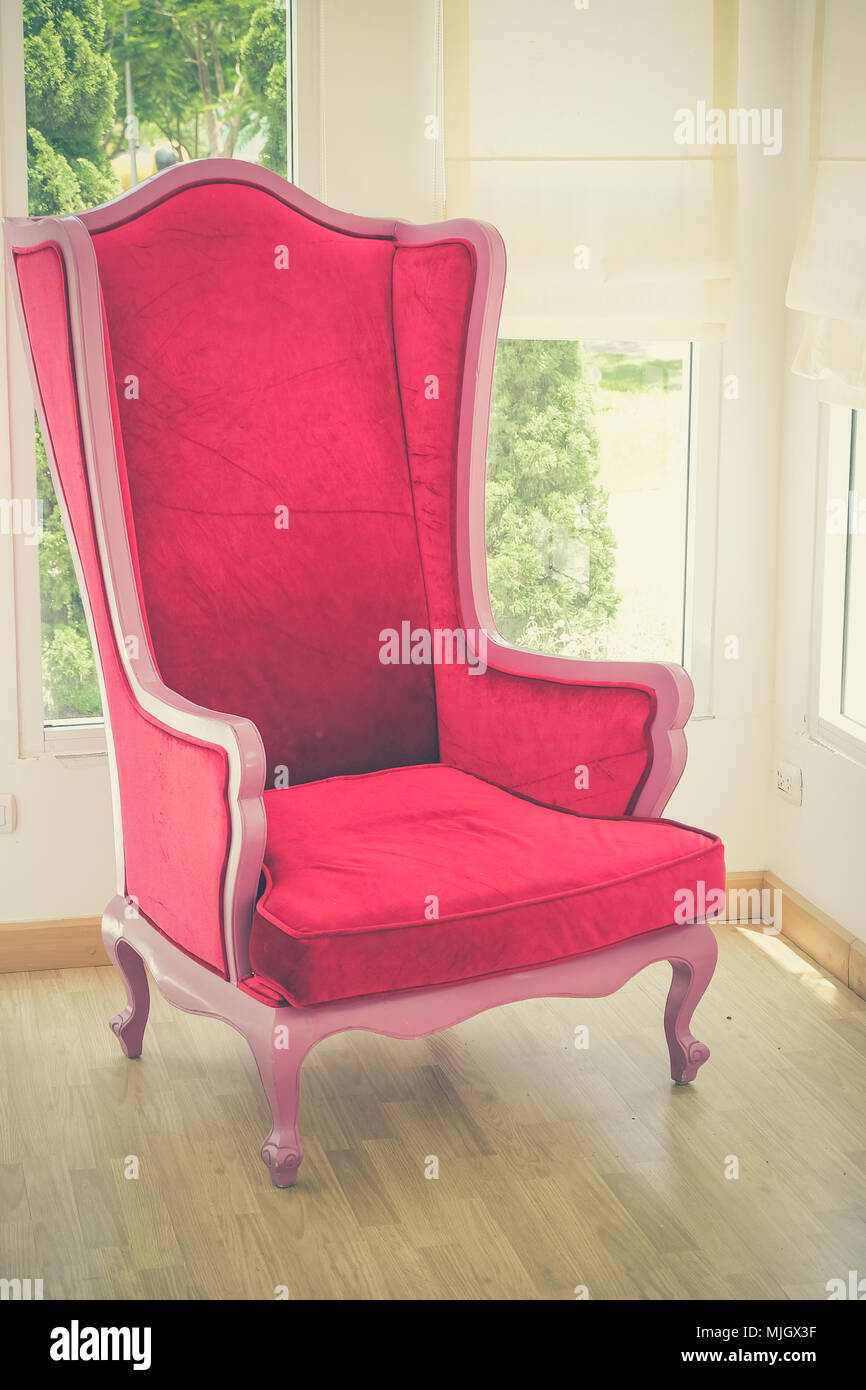 Red Sofa With Filter Effect Retro Vintage Style Stock Photo