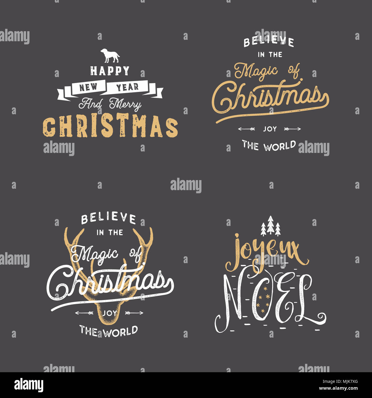 Merry christmas typography quotes wishes set sunbursts ribbon and sunbursts ribbon and xmas noel elements icons new year lettering sayings vintage labels seasonal greetings calligraphy stock m4hsunfo