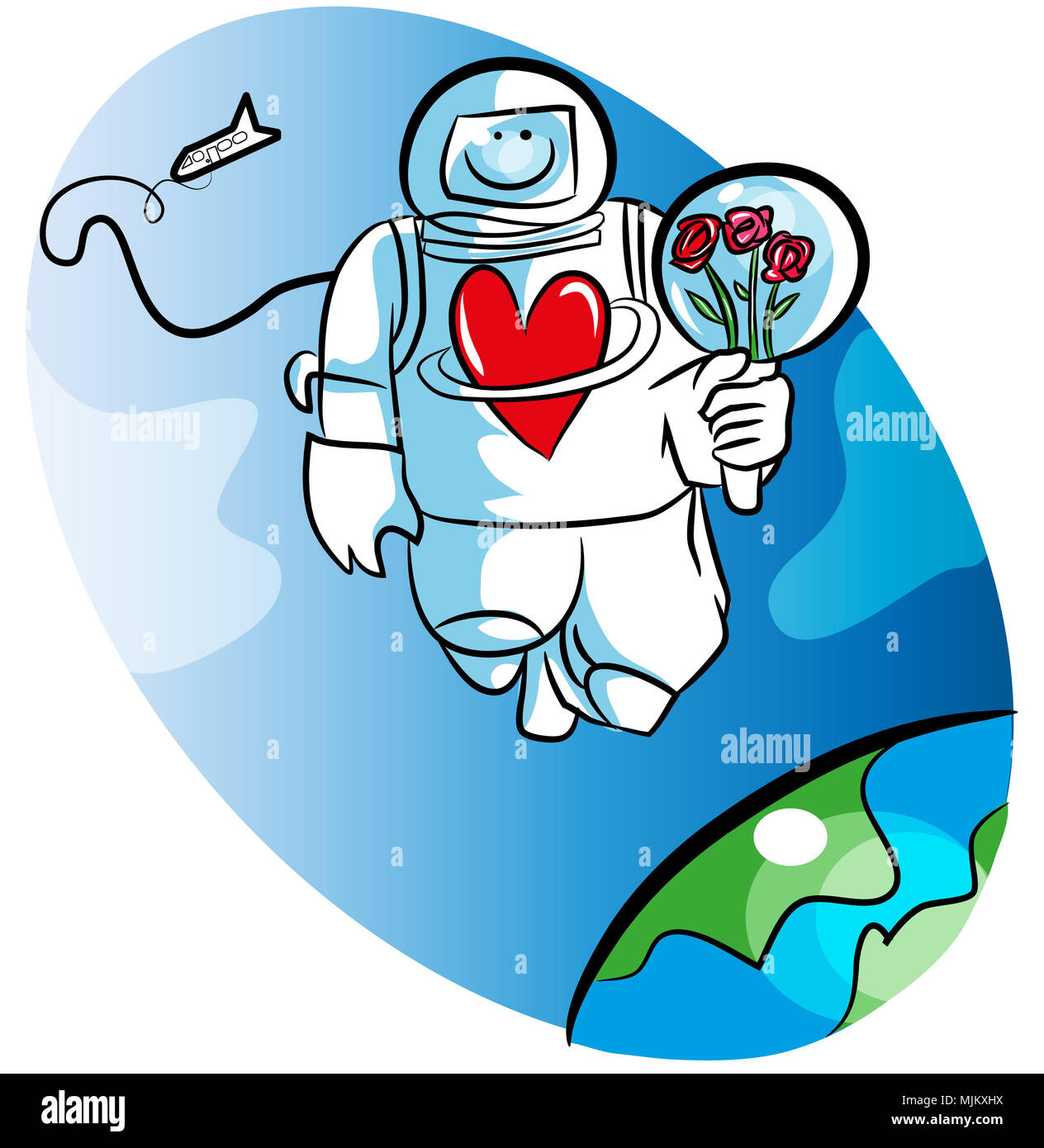 Cartoon space man and love. illustration of astronaut waiting for his darling. Space man or astronaut holding roses in the space. - Stock Image