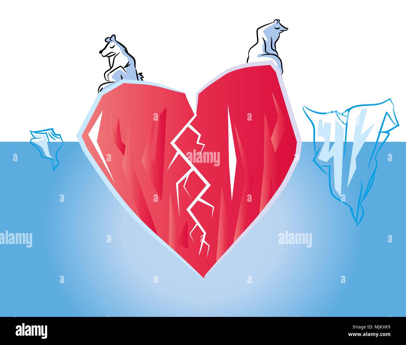 Unhappy Broken heart in poles (love concept) Symbolized heart Iceberg in Ocean with polar bears. - Stock Image