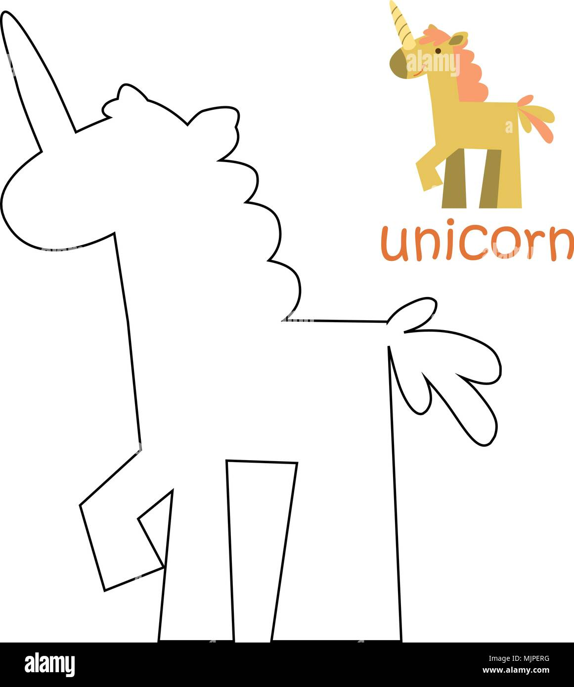 Kids coloring page - unicorn Stock Vector Art & Illustration, Vector ...