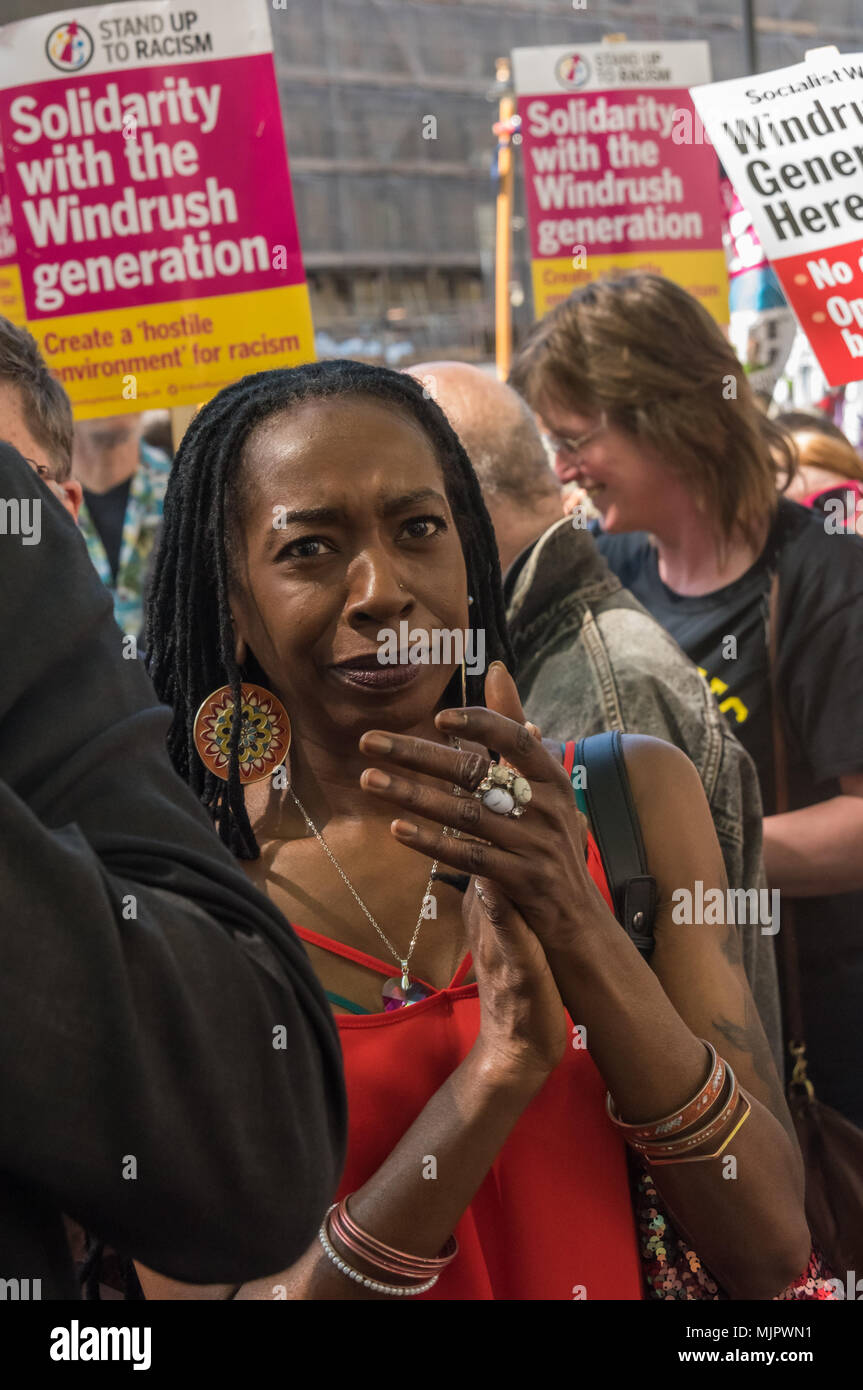London, UK. 5th May 2018. Stand Up To Racism hold a rally at Downing St calling for Theresa May's racist 2014 Immigration Act to be repealed and an immediate end to the deportation and detention of Commonwealth citizens, with those already deported to be bought back to the UK. The protesters called for protection to the guaranteed for all Commonwealth citizens and for those affected to be compensated for deportation, threats of deportation, detention, loss of housing, jobs, benefits and denial of NHS treatment. There should be an end to the 'hostile environment' for all immigrants. Speakers al - Stock Image