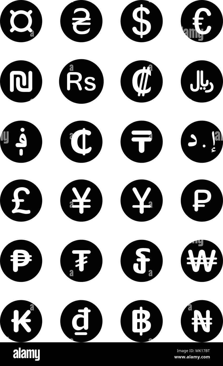 Currency Symbols Of The World Isolated On White Background Stock