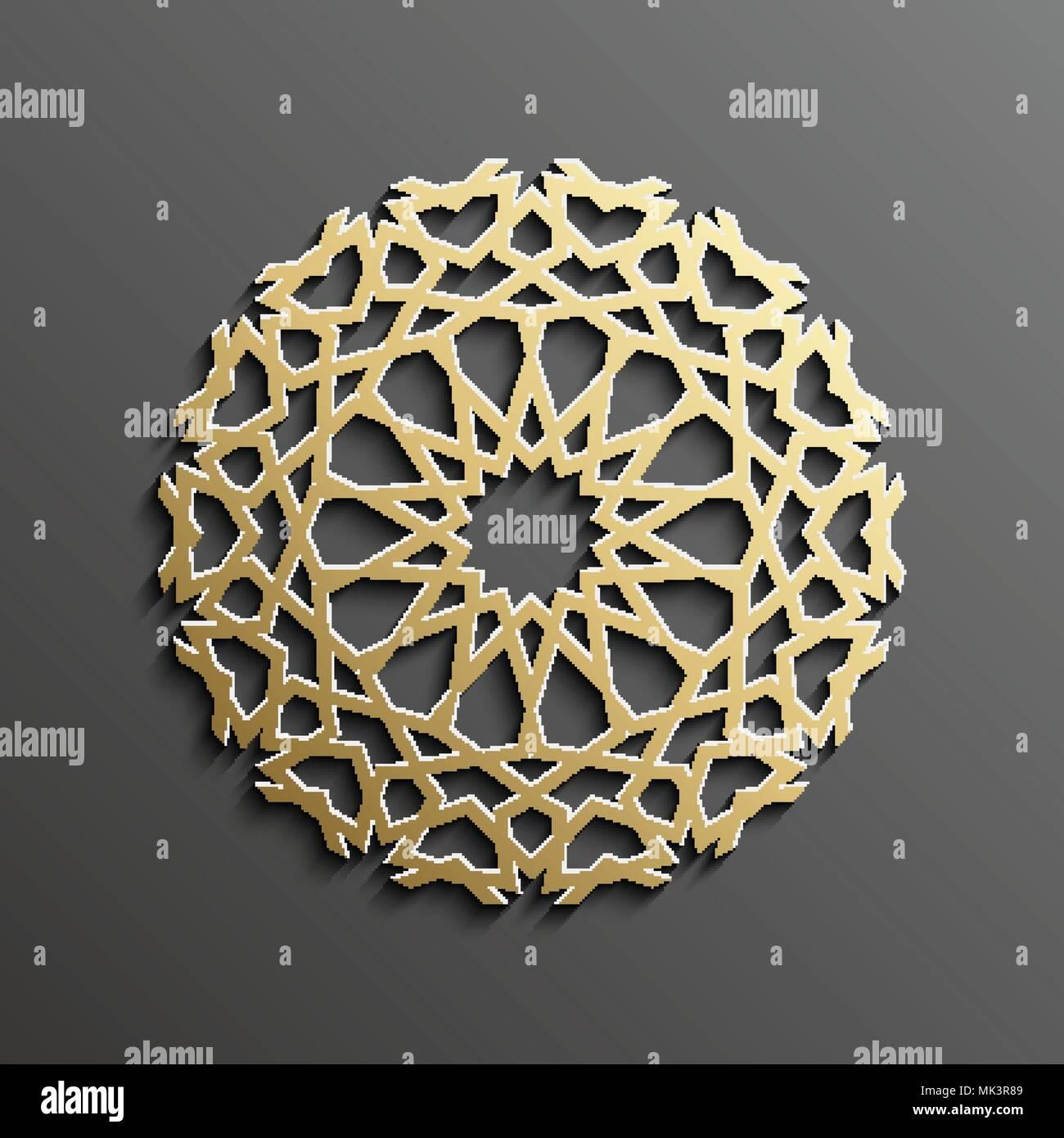 Islamic mandala 3d gold background on dark round ornament islamic mandala 3d gold background on dark round ornament architecture muslim texture brochures invitation persian motif design stopboris Gallery