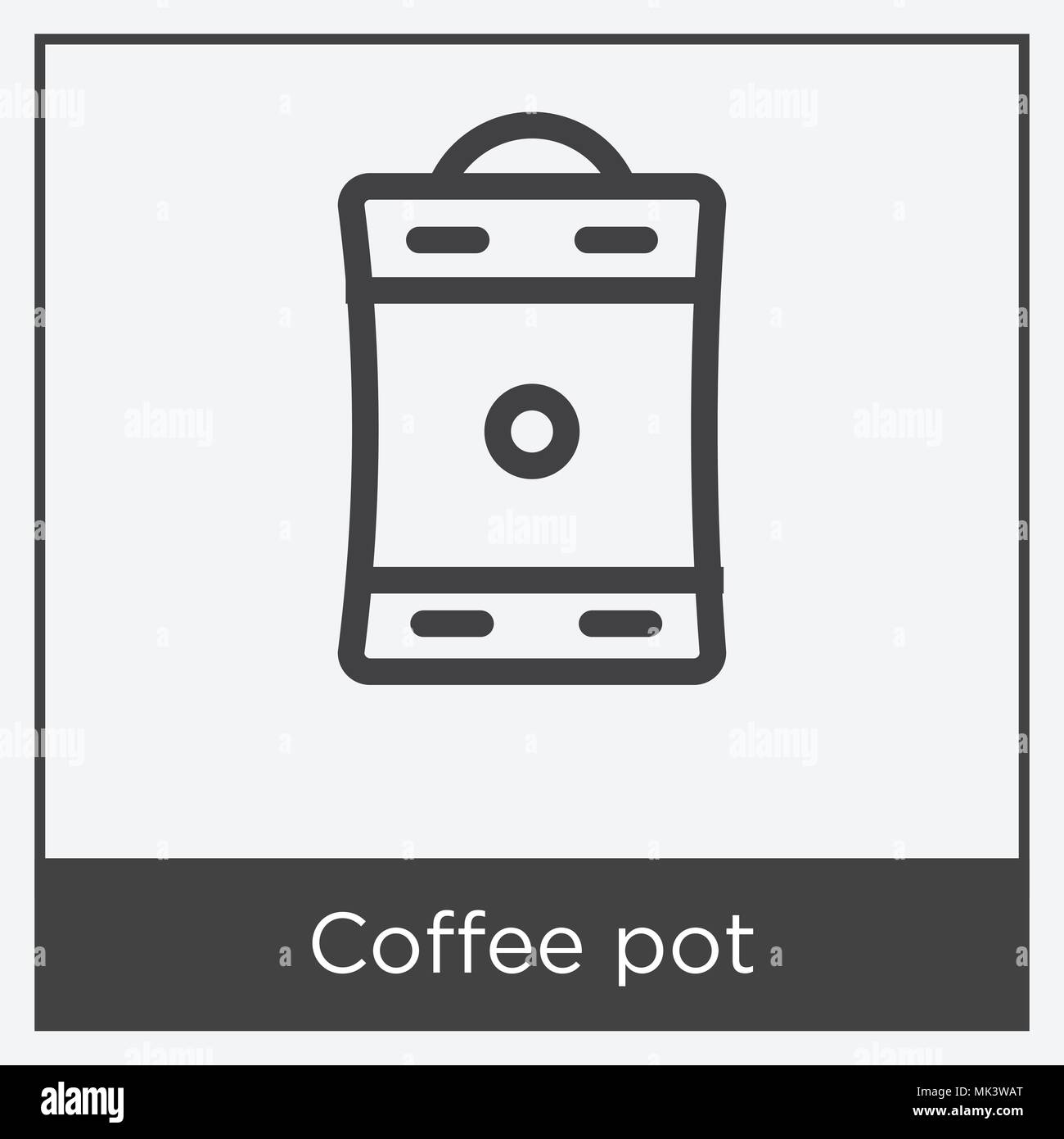 Coffee Pot Icon Isolated On White Background With Gray Frame Sign