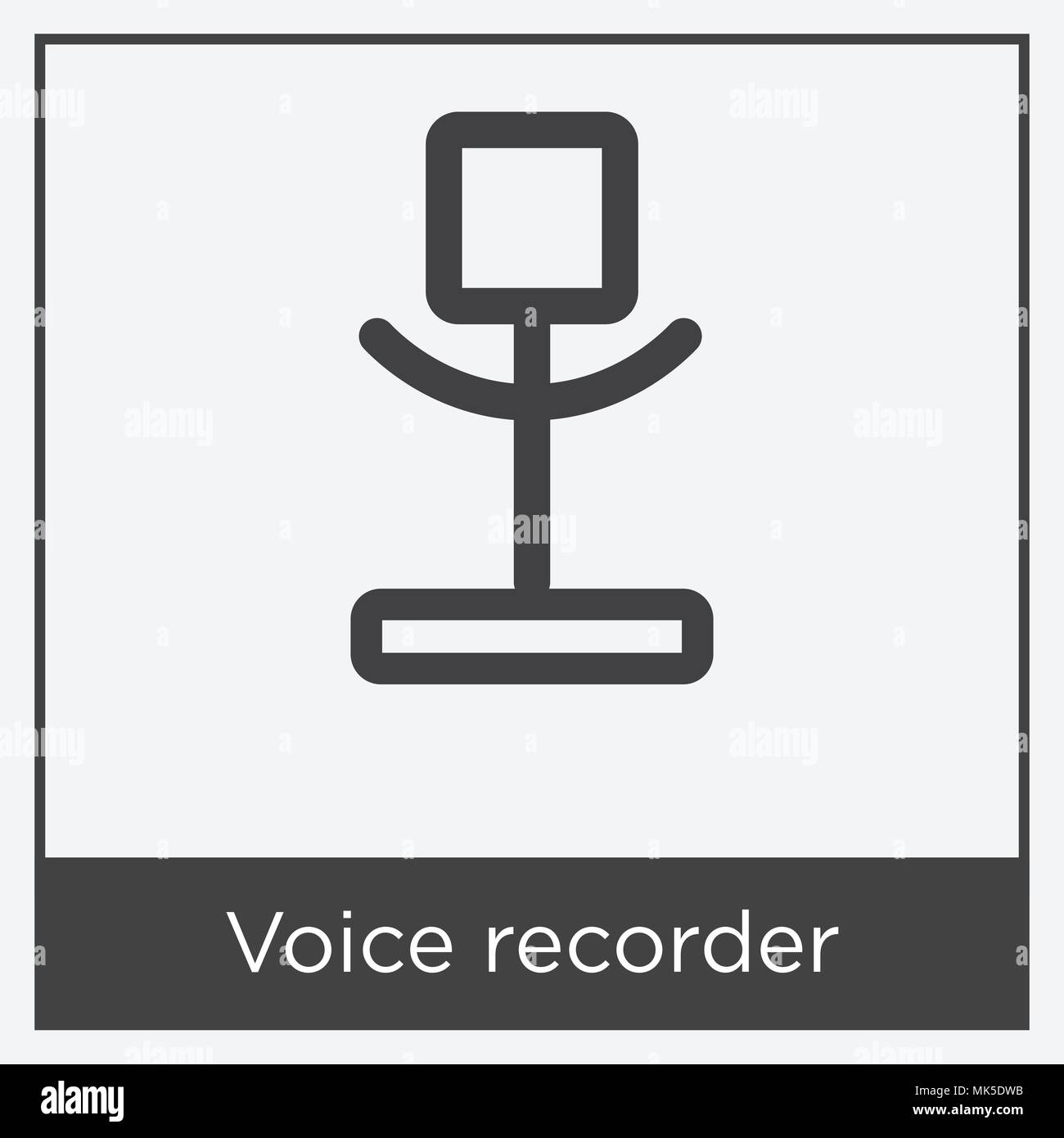 Voice recorder icon isolated on white background with gray frame ...