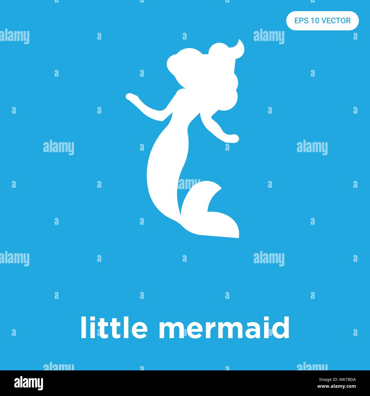 Little Mermaid Vector Icon Isolated On Blue Background Sign And