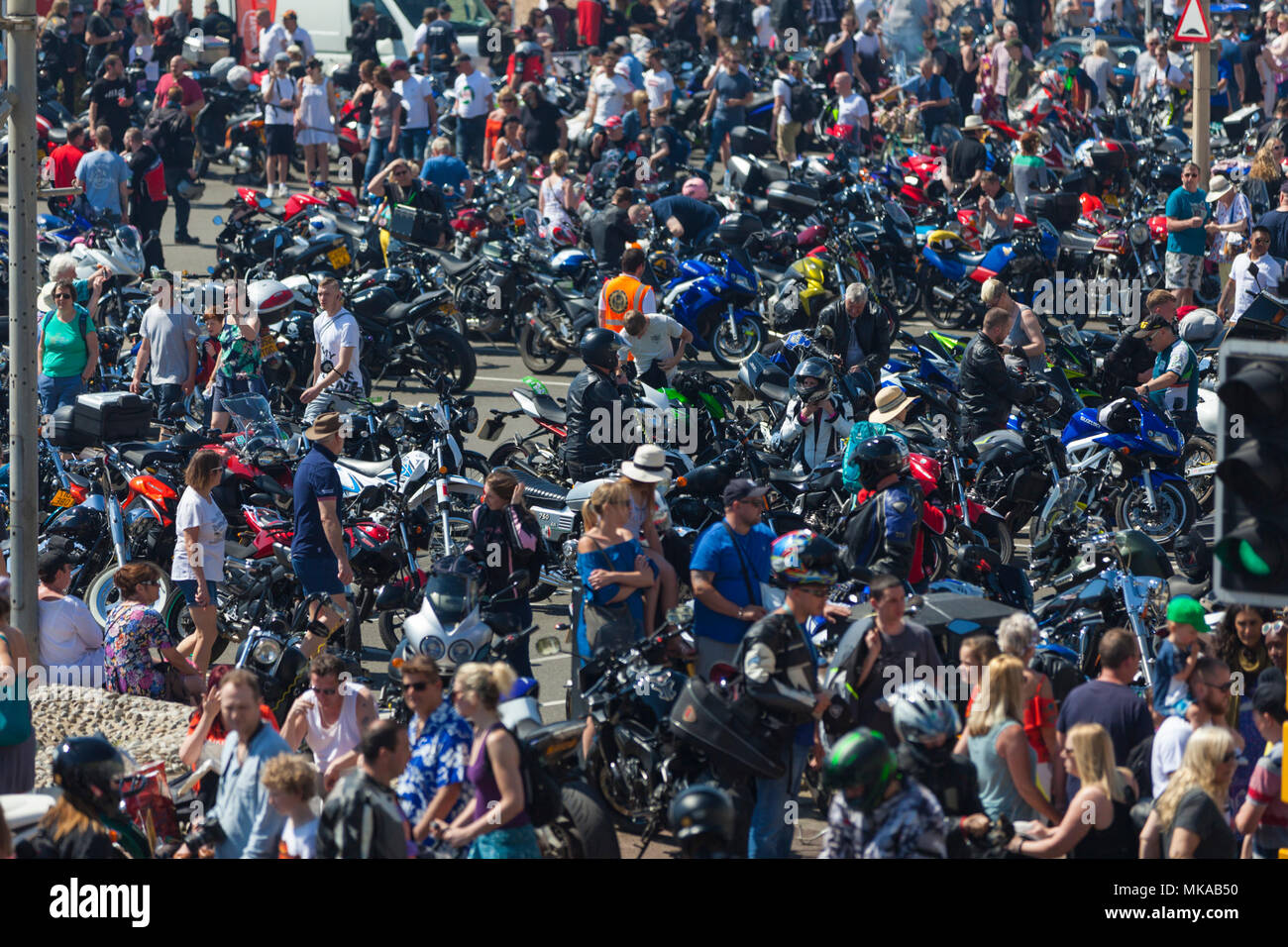 Thousands of people and motorbikes gather for the 40th year of bike 1066, may day run in hastings, east sussex, uk Stock Photo