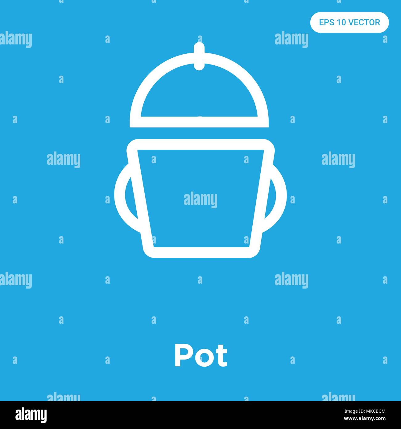 Pot Vector Icon Isolated On Blue Background Sign And Symbol Stock
