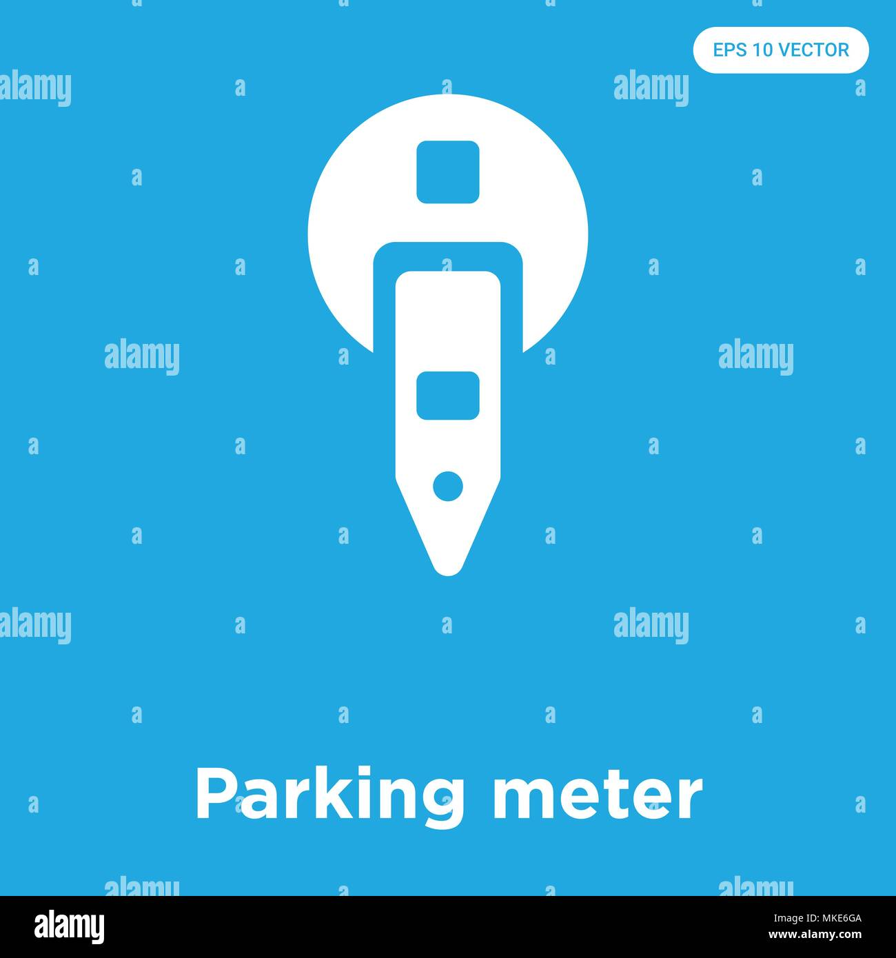 Parking meter vector icon isolated on blue background, sign and ...