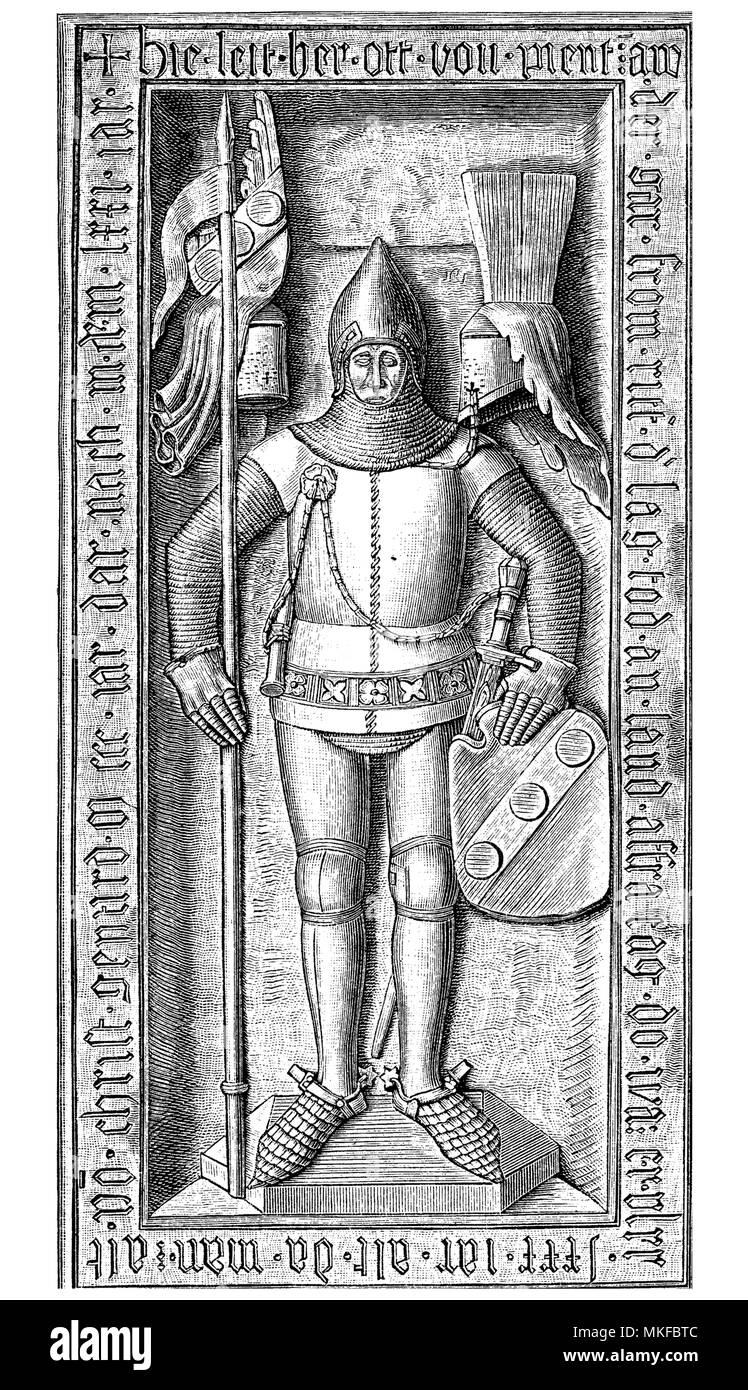 Otto II von Pienzenau stone sculpture on the grave knight in the Ebersberg parish church, Germany, year 1371 - Stock Image