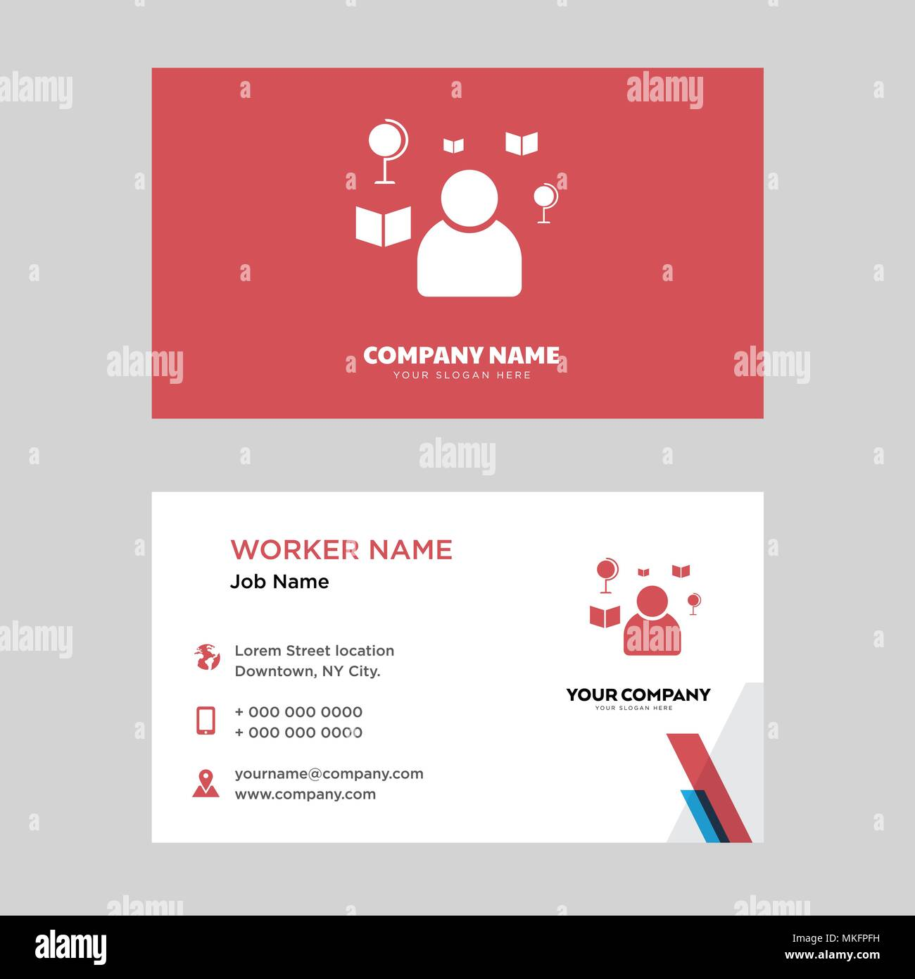 teacher business card design template visiting for your company modern horizontal identity card vector - Teacher Business Cards