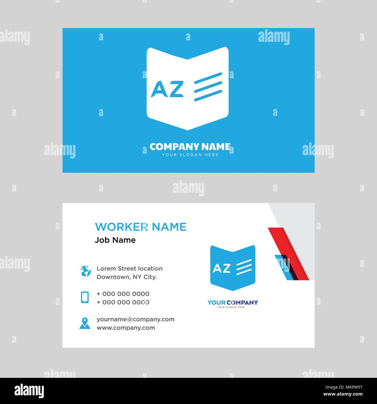 dictionary business card design template visiting for your company modern horizontal identity card vector