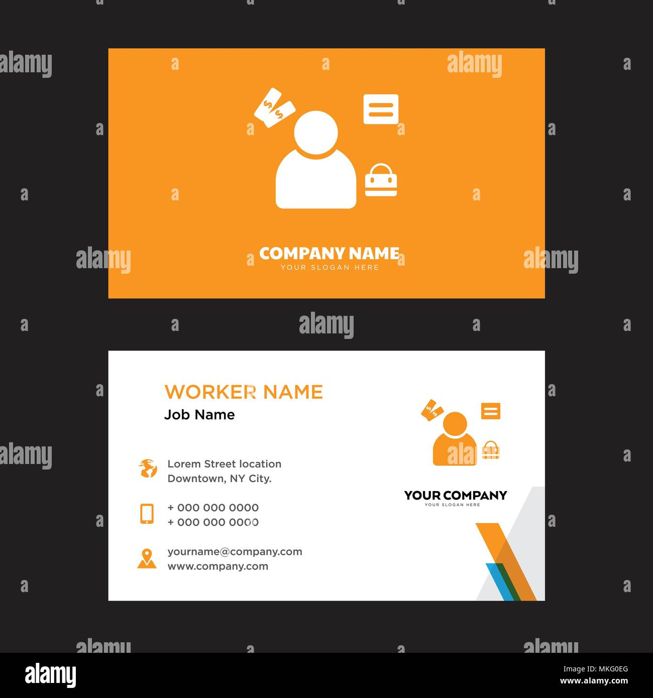 manager business card design template visiting for your company modern horizontal identity card vector - Business Card Manager
