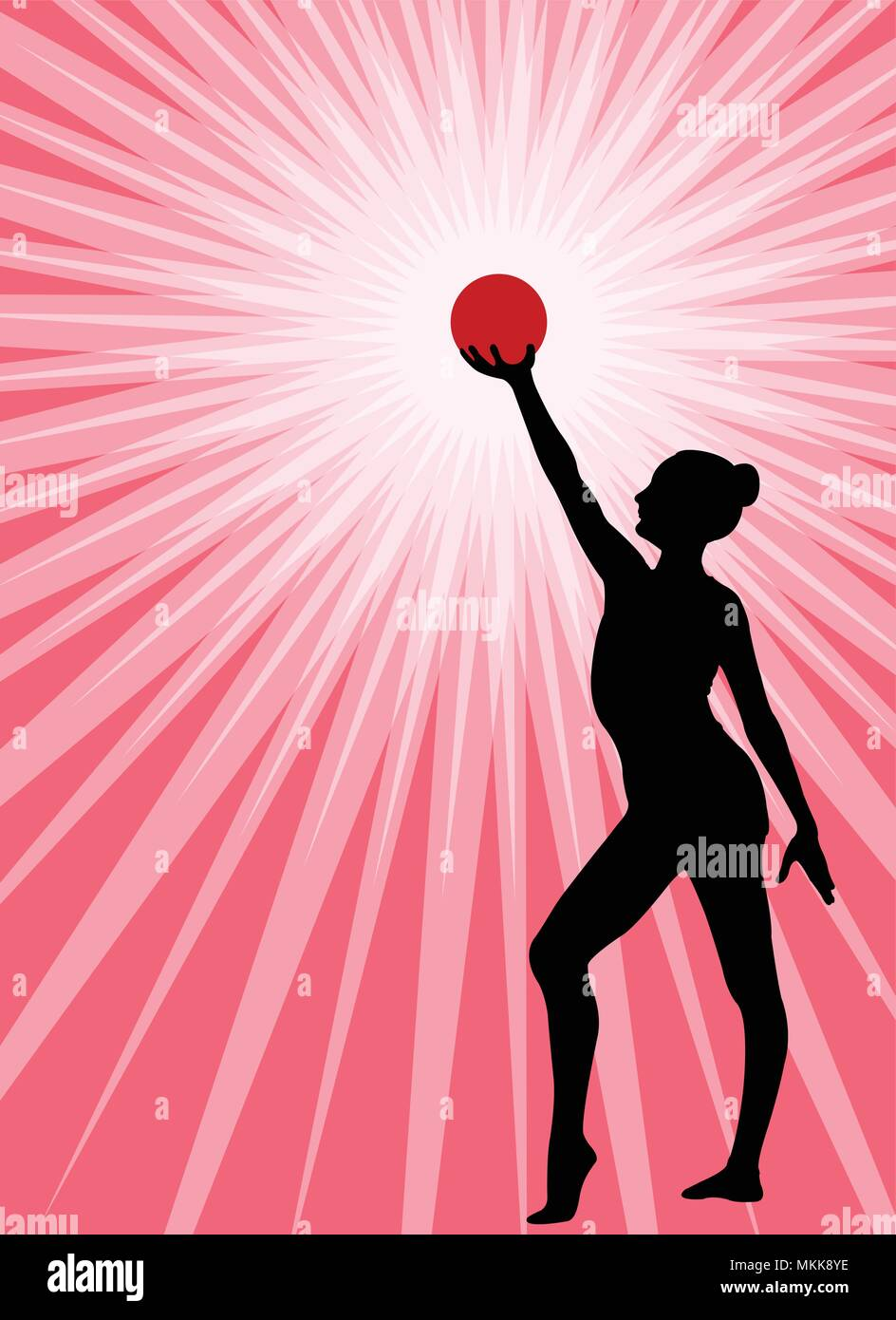 rhythmic gymnast silhouette on the abstract background vector