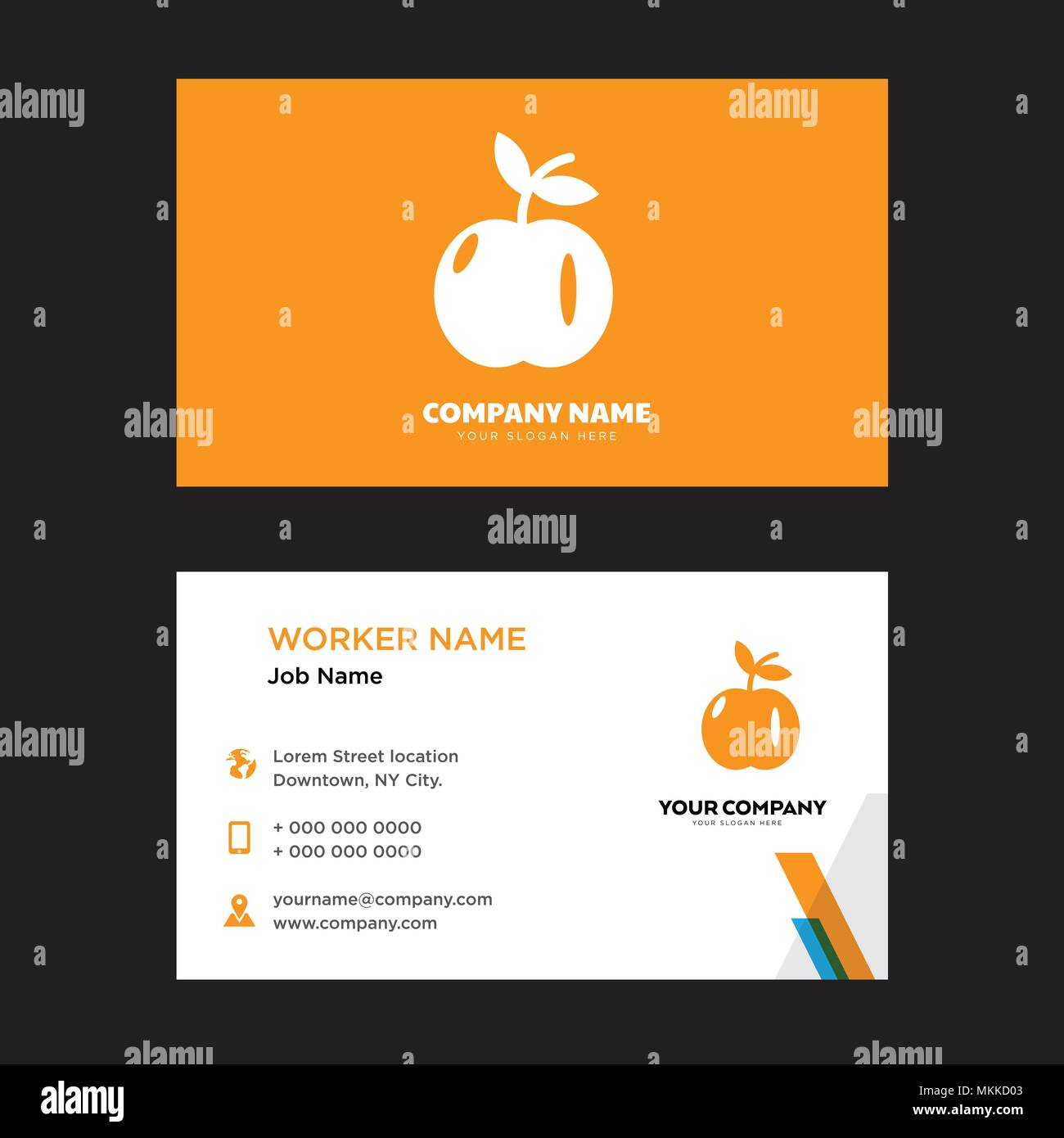 Apple with leaf business card design template visiting for your apple with leaf business card design template visiting for your company modern horizontal identity card vector accmission Images