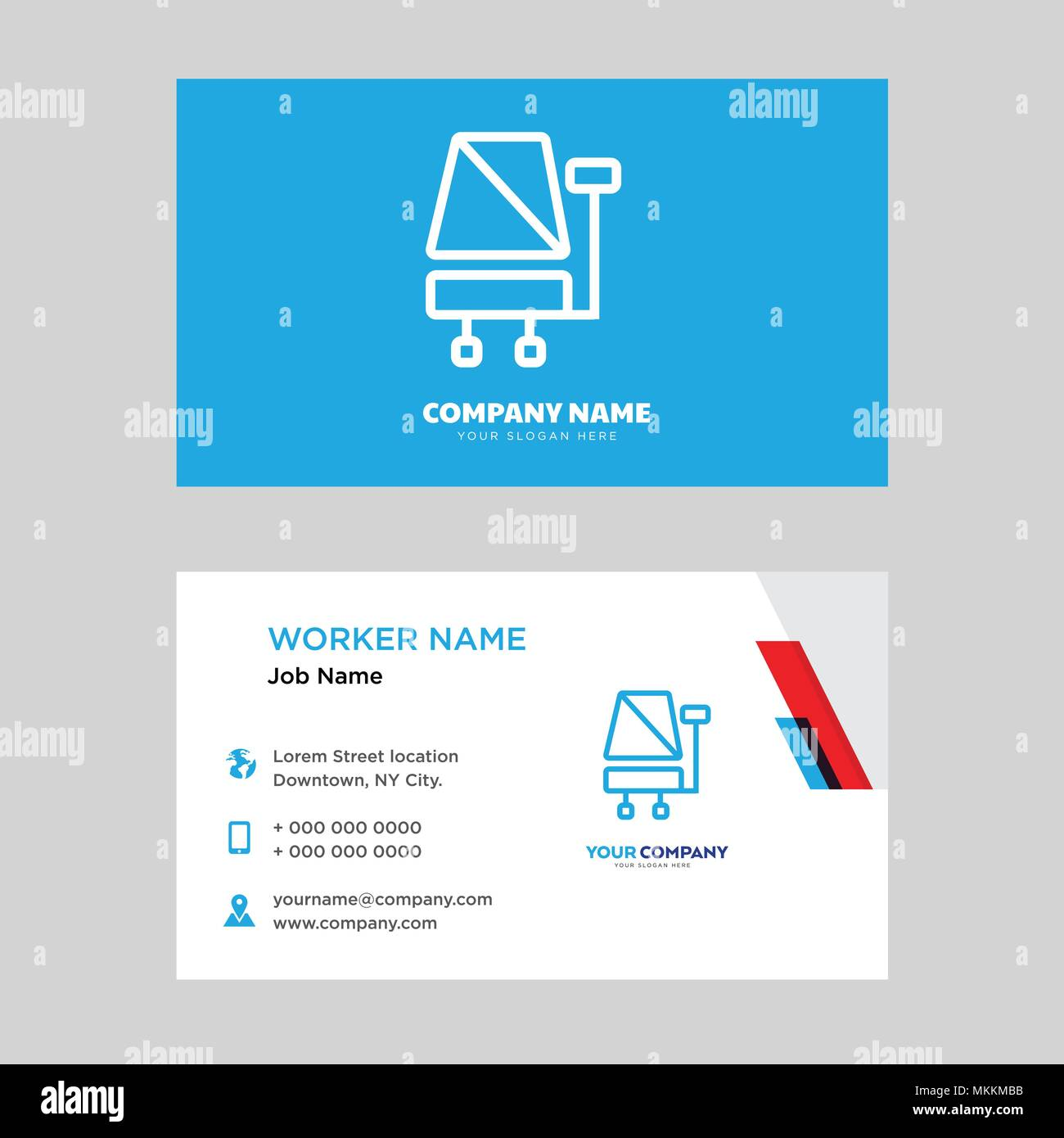 Office Chair Business Card Design Template Visiting For Your