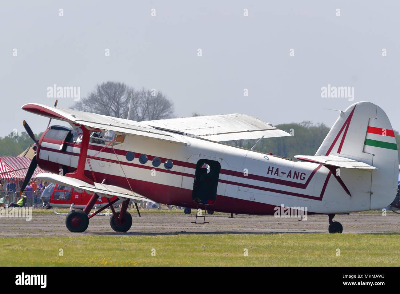 A Russian Antonov AN-2 HA-ANG on display at the Abingdon Air & Country Show - Stock Image
