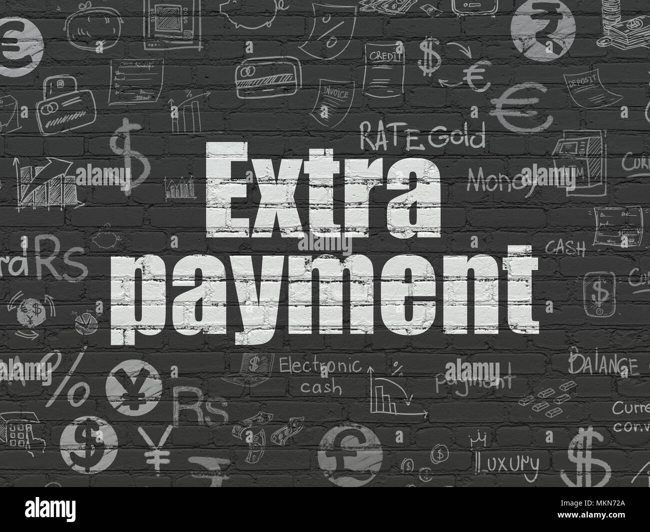 money concept painted white text extra payment on black brick wall