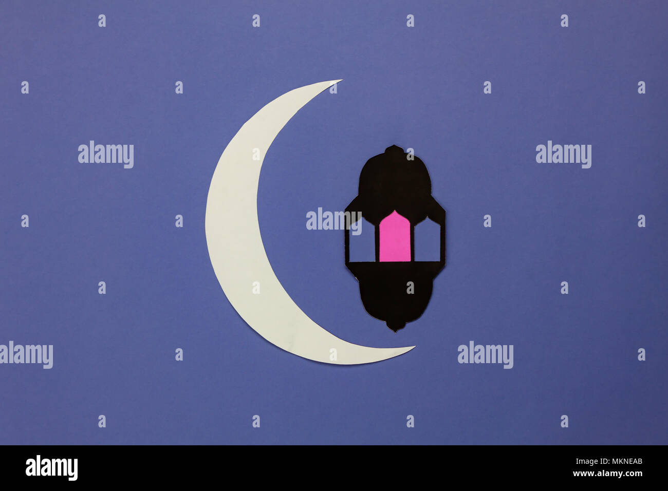Amazing Display Eid Al-Fitr Decorations - table-top-view-aerial-image-of-decorations-ramadan-kareem-holiday-backgroundflat-lay-diy-paper-cut-of-white-moon-and-lantern-on-modern-rustic-brown-w-MKNEAB  HD_992745 .jpg