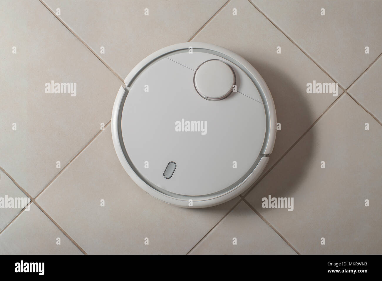 Robot Vacuum Cleaner With Shadow Cleaning Dust On Tile Floors