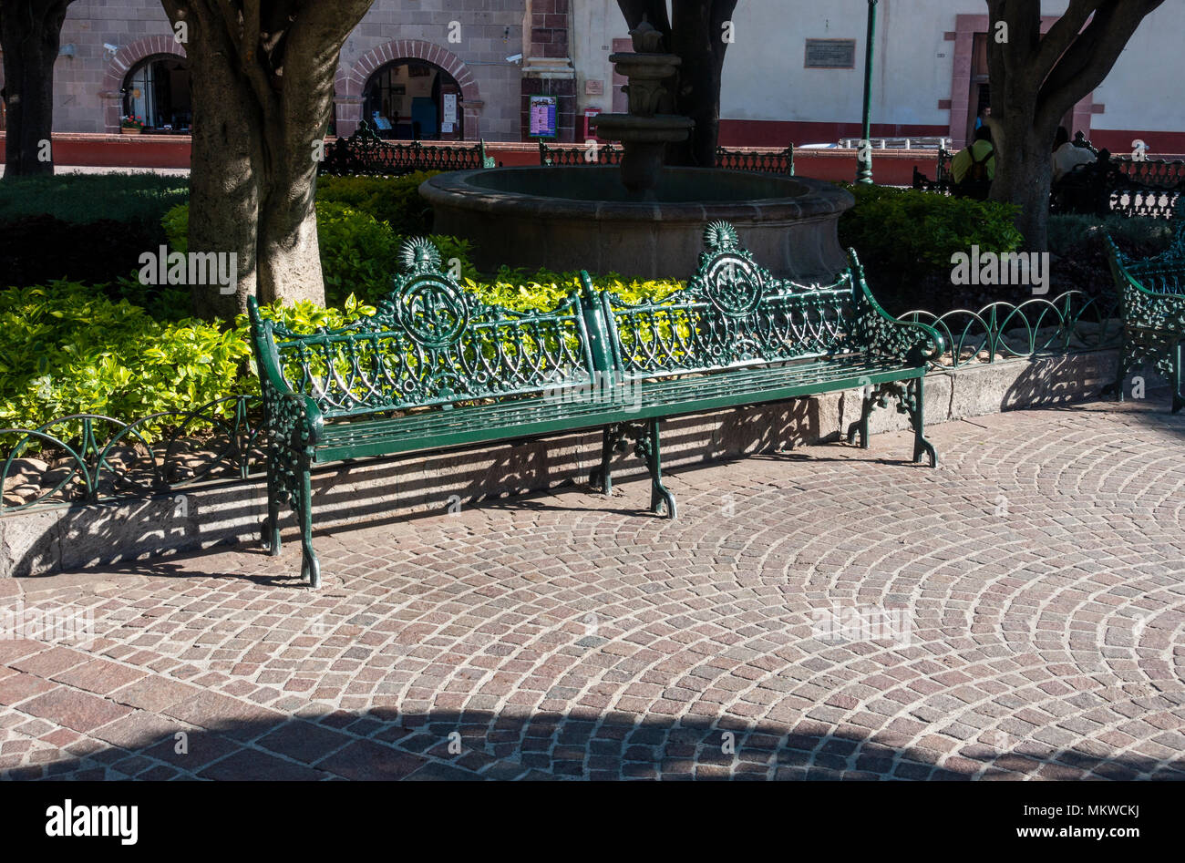 A green iron bench in El Jardin (the garden) in the center of San Miguel de Allende in Mexico, - Stock Image