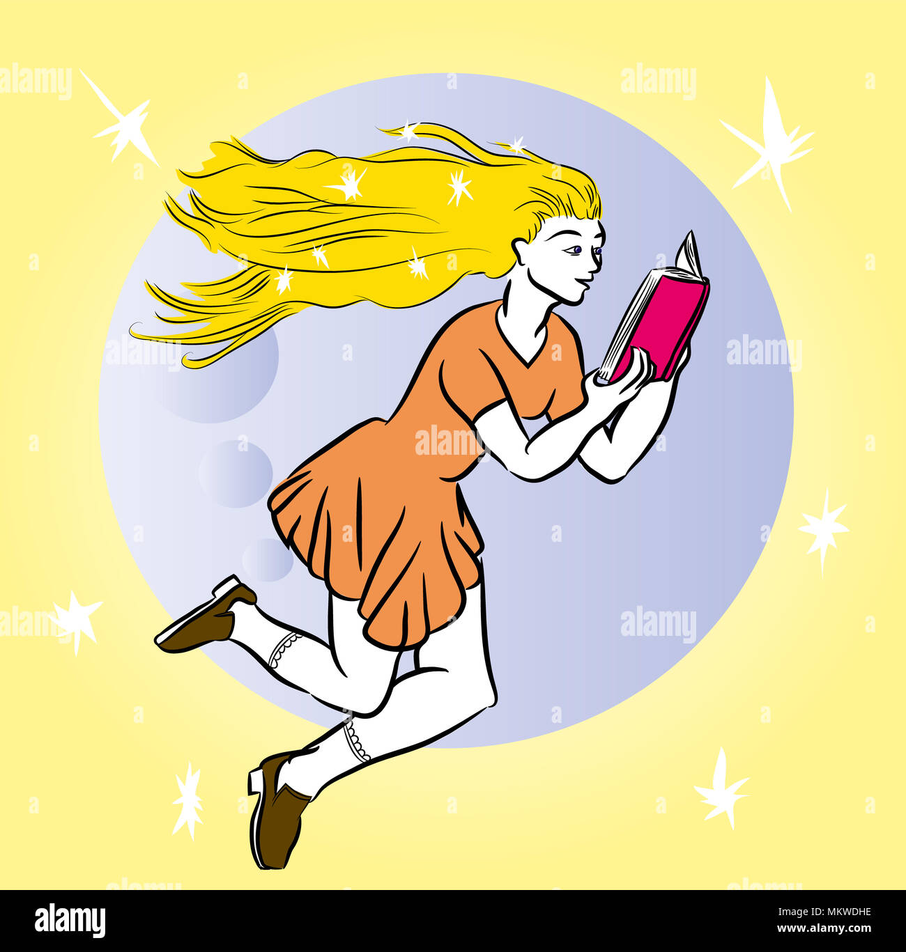 Girl reading a book. Flying blonde girl reading a book on the moon. Woman reading interesting book. - Stock Image