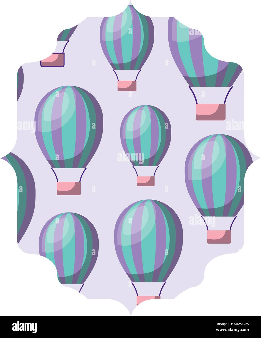 Arabic Frame With Hot Air Balloons Pattern Over White Background