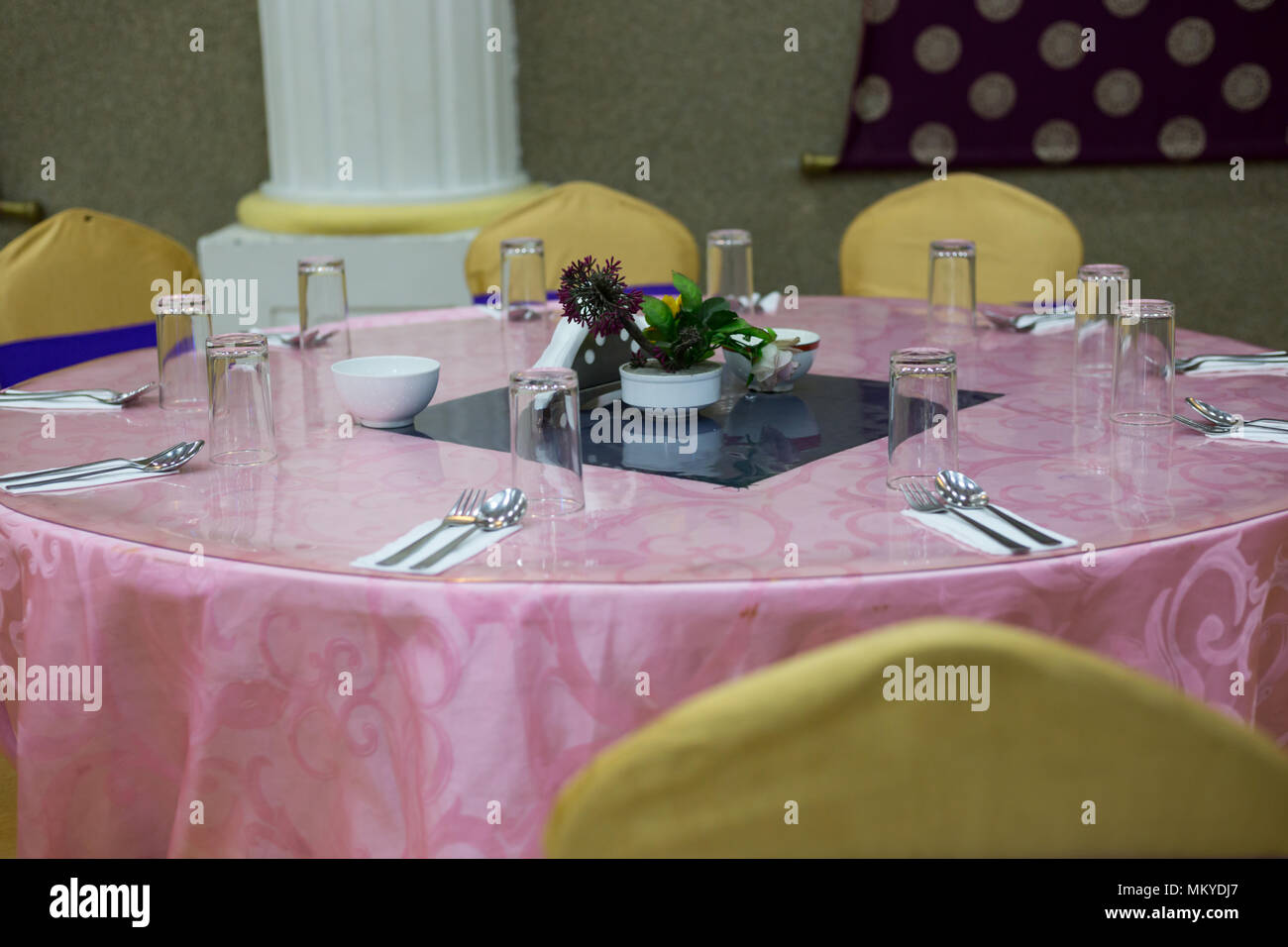 Normal Table Setup At Wedding Ceremony At Party Palace Stock Photo