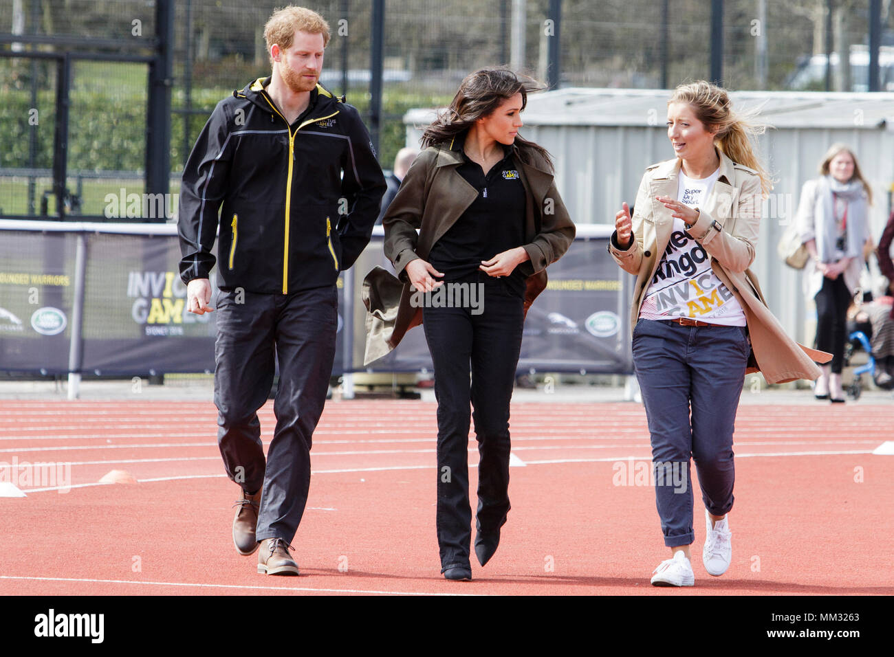 Bath, UK. 6/04/18.Prince Harry and  Meghan Markle are pictured at the University of Bath as they attend the UK team trials for the 2018 Invictus Games Stock Photo