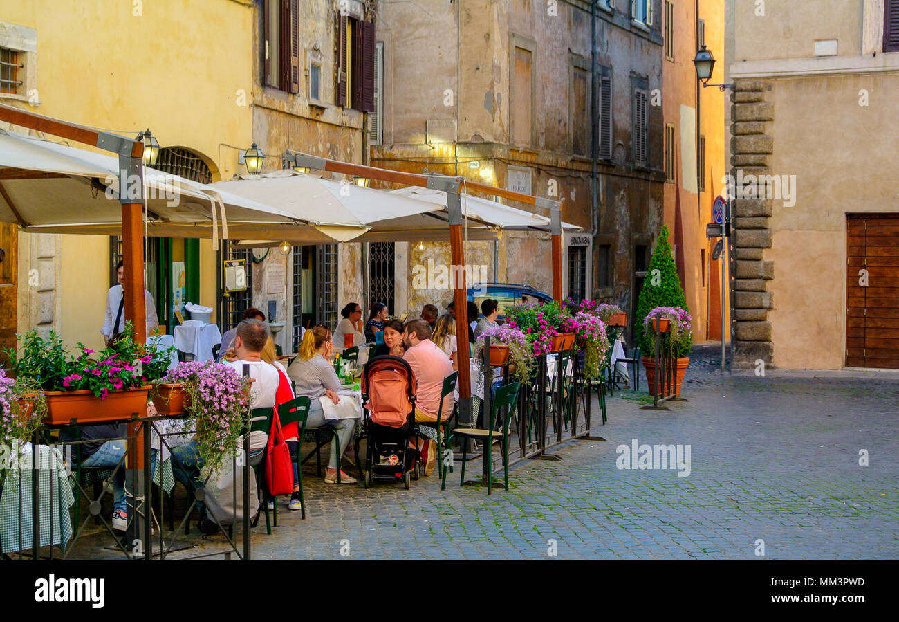people at restaurant at Piazza Margana, rome italy Stock Photo